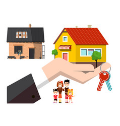 house construction with keys and new final vector image