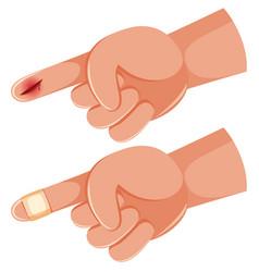 Human hand finger cut vector