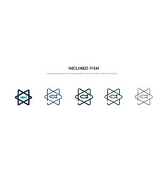 Inclined fish icon in different style two vector
