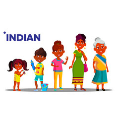indian generation female set people person vector image