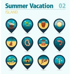 Island beach pin map icon set Summer Vacation vector