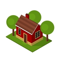 Isolated Isometric House Buildings with Garden and vector