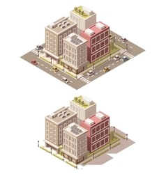 isometric low poly town street vector image