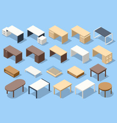 isometric office table white empty table vector image