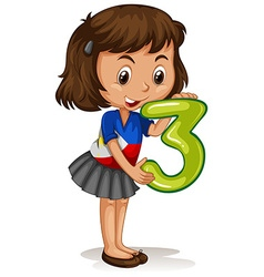Little girl holding number three vector