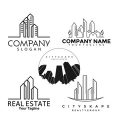 Logo real estate buildings set vector