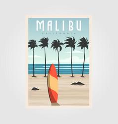 malibu california beach vintage design surf vector image