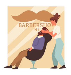 man with beard in barbershop and woman barber vector image