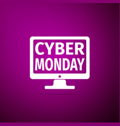 monitor with cyber monday on screen icon isolated vector image