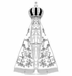 Our lady aparecida outline only vector