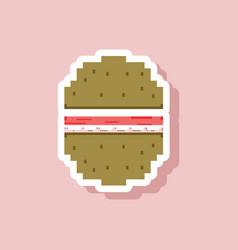 Paper sticker on stylish background hamburger vector