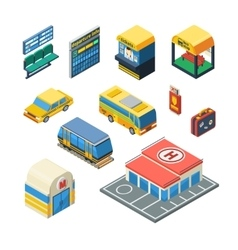 Passenger Transportation Isometric Icons vector