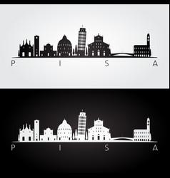 Pisa skyline and landmarks silhouette vector