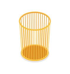 Plastic trash basket isometric 3d icon vector