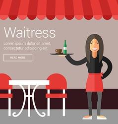 Profession people waitress flat design concept vector