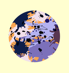 purple lilac orange brown ink splashes round vector image