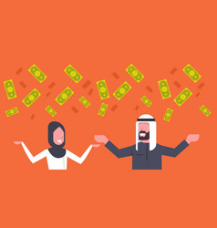 Rich arab couple business man and woman throwing vector