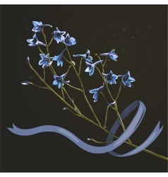Romantic Wild Flowers Bunch with Ribbon on Dark vector image