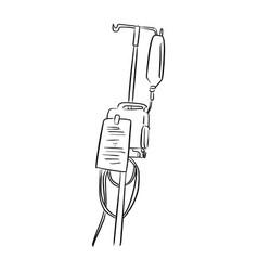 Saline solution bag hanging on pole vector