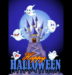 Scene with halloween ghost on castle background vector