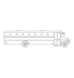 School bus flat icon and logo outline vector