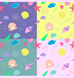 sea shells seamless background pattern vector image