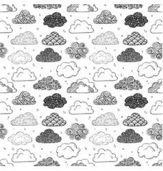 seamless background with black doodle clouds vector image