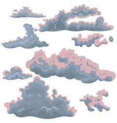set clouds different shapes design elements vector image