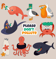Set of eco animals stop ocean pollution concept vector