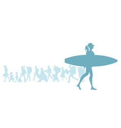 silhouette of surfer girl carrying a surfboard vector image