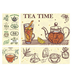 sketch tea time colorful concept vector image