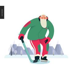 sporting santa - ice hockey vector image