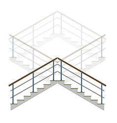 Stair with handrails stairs ladder in vector
