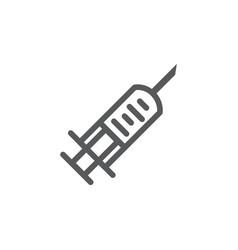 syringe line icon on white background vector image