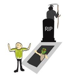 Tombstone with zombie hand vector