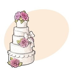 Traditional white tiered wedding cake decorated vector image