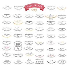 valentines day lettering design set vector image
