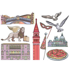 Venice tourist attractions sketch set vector