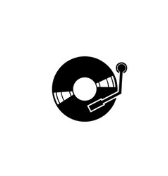 vinyl disk for dj mixing music logo design vector image