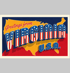 virginia usa july 4th retro postcard vector image