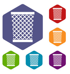 Wastepaper basket icons set hexagon vector