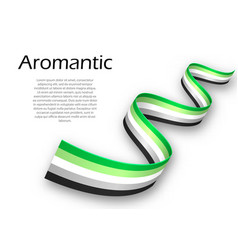 Waving ribbon or banner with aromantic pride flag vector