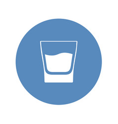 white glass with whiskey placed in blue circle vector image
