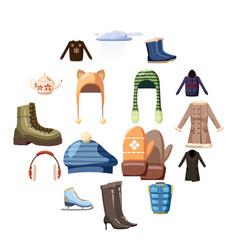 winter wear icons set cartoon style vector image