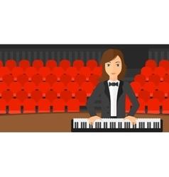 Woman playing piano vector