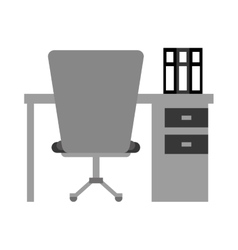 Worplace desktop computer books chair vector
