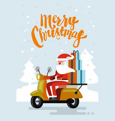 xmas santa claus riding delivery scooter vector image