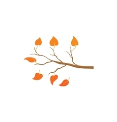 Yellow leaves on a branch icon cartoon style vector image