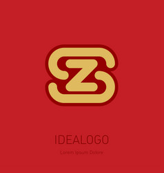 z and s initial logo zs - design element or icon vector image