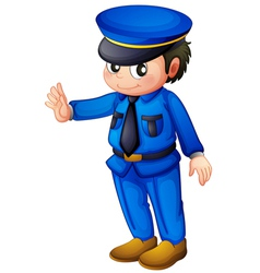 A police officer with a complete blue inform vector image vector image